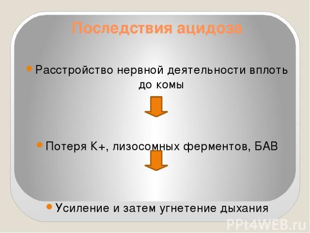 Последствия ацидоза Расстройство нервной деятельности вплоть до комы Потеря К+, лизосомных ферментов, БАВ Усиление и затем угнетение дыхания