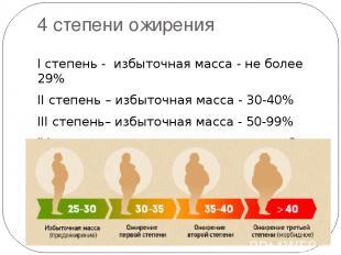 4 степени ожирения I степень - избыточная масса - не более 29% II степень – избы