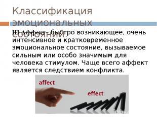 Классификация эмоциональных состояний. III Аффект– быстро возникающее, очень инт