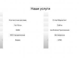 www.royal-m.ru Наши услуги Контекстная реклама Чат-боты SMM SEO-продвижение Виде