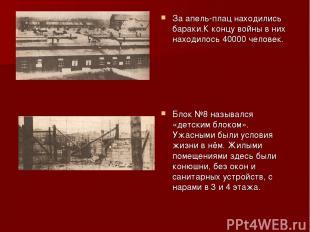 За апель-плац находились бараки.К концу войны в них находилось 40000 человек. Бл