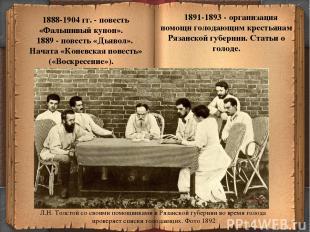 * 1888-1904 гг. - повесть «Фальшивый купон». 1889 - повесть «Дьявол». Начата «Ко