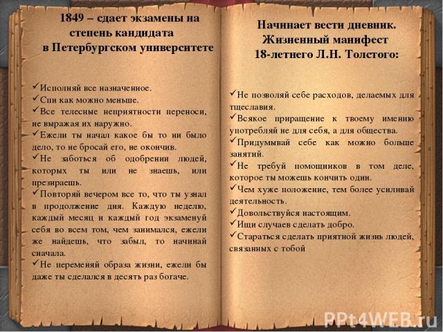 * 1849 – сдает экзамены на степень кандидата в Петербургском университете Исполняй все назначенное. Спи как можно меньше. Все телесные неприятности переноси, не выражая их наружно. Ежели ты начал какое бы то ни было дело, то не бросай его, не окончи…