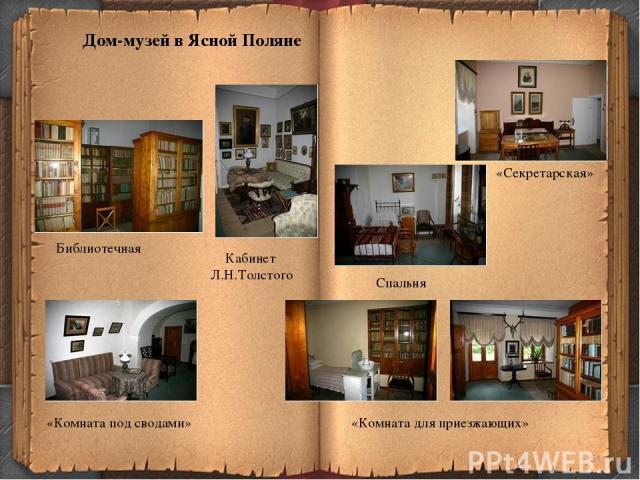 * Библиотечная Кабинет Л.Н.Толстого «Секретарская» Спальня «Комната под сводами» «Комната для приезжающих» Дом-музей в Ясной Поляне