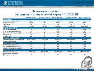 Технические данные индукционных нагревателей серии BALTECH HI