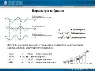 Величины смещения, скорости и ускорения в стандартных международных единицах свя