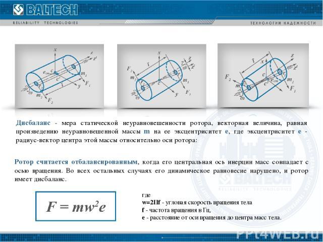 Дисбаланс - мера статической неуравновешенности ротора, векторная величина, равная произведению неуравновешенной массы m на ее эксцентриситет e, где эксцентриситет e - радиус-вектор центра этой массы относительно оси ротора: где w=2Пf - угловая скор…