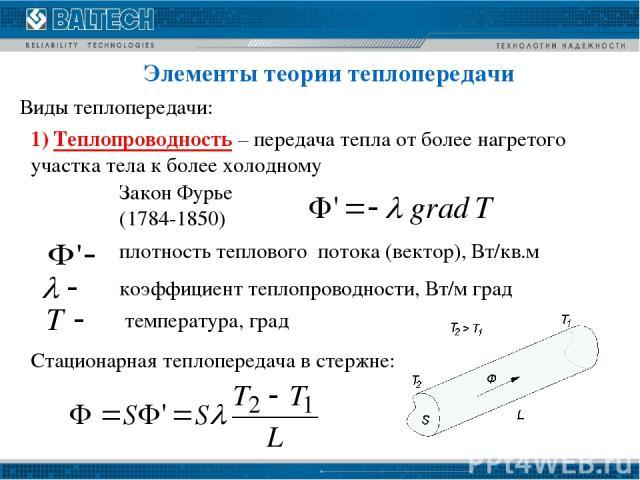 Элементы теории теплопередачи Виды теплопередачи: 1) Теплопроводность – передача тепла от более нагретого участка тела к более холодному Закон Фурье (1784-1850) плотность теплового потока (вектор), Вт/кв.м коэффициент теплопроводности, Вт/м град тем…