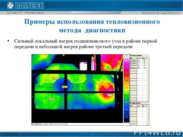 Сильный локальный нагрев подшипникового узла в районе первой передачи и небольшой нагрев районе третьей передачи Примеры использования тепловизионного метода диагностики