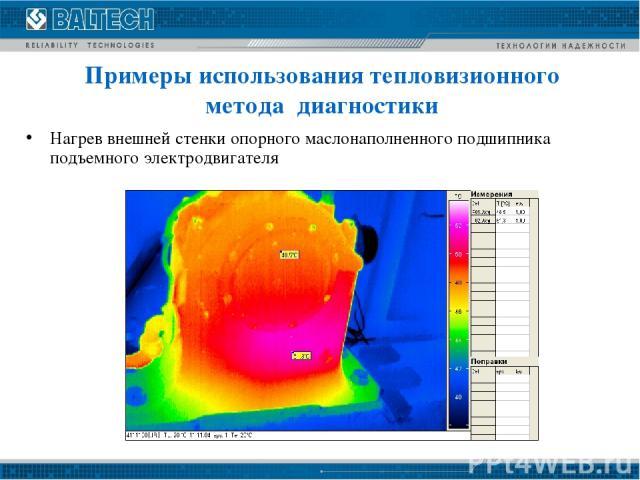 Нагрев внешней стенки опорного маслонаполненного подшипника подъемного электродвигателя Примеры использования тепловизионного метода диагностики