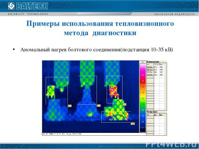 Аномальный нагрев болтового соединения(подстанция 10-35 кВ) Примеры использования тепловизионного метода диагностики