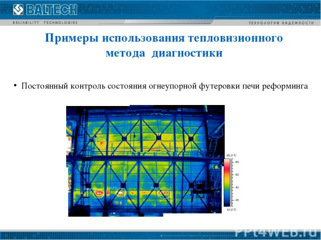 Постоянный контроль состояния огнеупорной футеровки печи реформинга Примеры использования тепловизионного метода диагностики