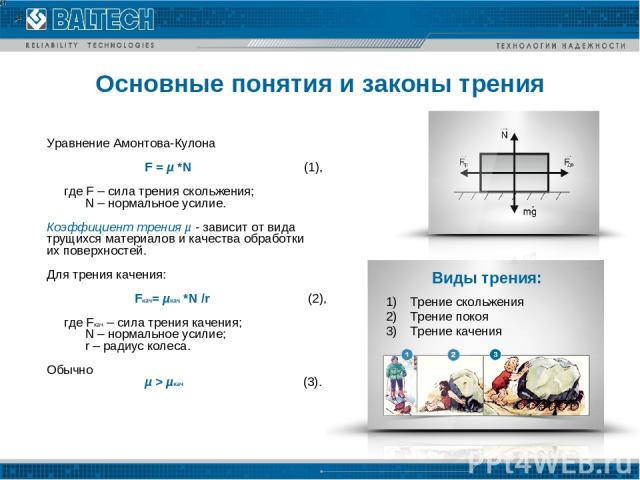 Основные понятия и законы трения Уравнение Амонтова-Кулона F = µ *N (1), где F – сила трения скольжения; N – нормальное усилие. Коэффициент трения µ - зависит от вида трущихся материалов и качества обработки их поверхностей. Для трения качения: Fкач…
