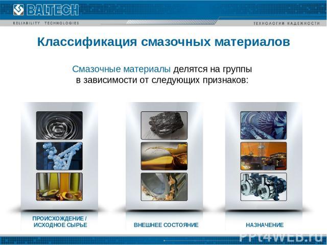Классификация смазочных материалов Смазочные материалы делятся на группы в зависимости от следующих признаков: ПРОИСХОЖДЕНИЕ / ИСХОДНОЕ СЫРЬЕ ВНЕШНЕЕ СОСТОЯНИЕ НАЗНАЧЕНИЕ