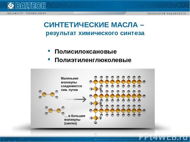 СИНТЕТИЧЕСКИЕ МАСЛА – результат химического синтеза Полисилоксановые Полиэтиленглюколевые Маленькие молекулы соединяются хим. путем … в большие молекулы (синтез)