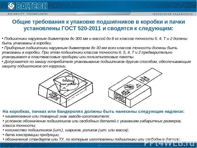Общие требования к упаковке подшипников в коробки и пачки установлены ГОСТ 520-2011 и сводятся к следующим: Подшипники наружным диаметром до 300 мм и массой до 8 кг классов точности 5, 4, Т и 2 должны быть упакованы в коробки. Приборные подшипники н…