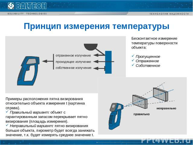Принцип измерения температуры Бесконтактное измерение температуры поверхности объекта: Пропущенное Отраженное Собственное Примеры расположения пятна визирования относительно объекта измерения t (картинка справа). Правильный вариант: объект с гаранти…