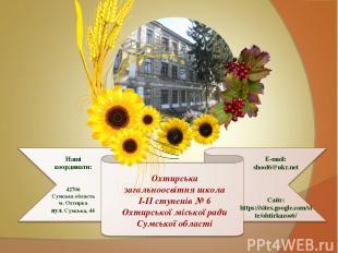 Наші координати: 42706 Сумська область м. Охтирка вул. Сумська, 44 E-mail: shool