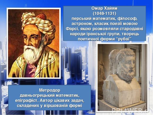 """Омар Хайям (1048-1131) перський математик, філософ, астроном, класик поезії мовою Фарсі, якою розмовляли стародавні народи іранської групи, творець поетичної форми """"рубаї"""" Метродор давньогрецький математик, епіграфіст. Автор цікавих задач, складених…"""