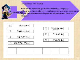 КЛЮЧ №2 Завдання до ключа №2: Розв'яжіть приклади, розмістіть відповіді у порядк