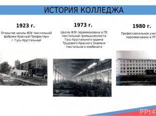 ВСЕГДА НА ШАГ ВПЕРЕДИ! ИСТОРИЯ КОЛЛЕДЖА 1923 г. Открытие школы ФЗУ текстильной ф