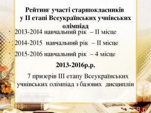 Рейтинг участі старшокласників у ІІ етапі Всеукраїнських учнівських олімпіад 201