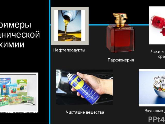 Примеры органической химии Средства защиты растений Нефтепродукты Парфюмерия Лаки и красящие средства Чистящие вещества Вкусовые добавки
