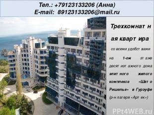Тел.: +79123133206 (Анна) E-mail: 89123133206@mail.ru В квартире: кухня две спал