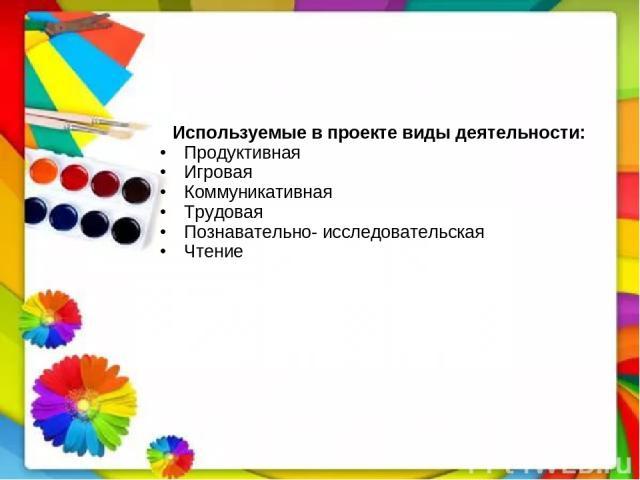 Используемые в проекте виды деятельности: Продуктивная Игровая Коммуникативная Трудовая Познавательно- исследовательская Чтение