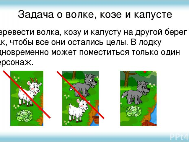 Задача о волке, козе и капусте Перевести волка, козу и капусту на другой берег так, чтобы все они остались целы. В лодку одновременно может поместиться только один персонаж.