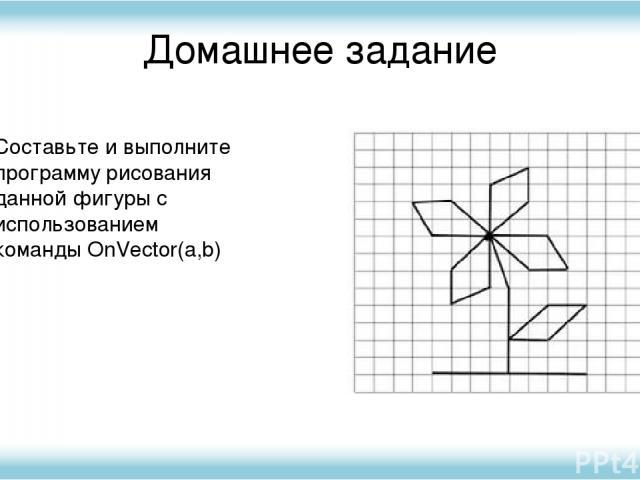 Домашнее задание Составьте и выполните программу рисования данной фигуры с использованием команды OnVector(a,b)
