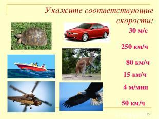 Укажите соответствующие скорости: * 30 м/с 250 км/ч 80 км/ч 15 км/ч 4 м/мин 50 к