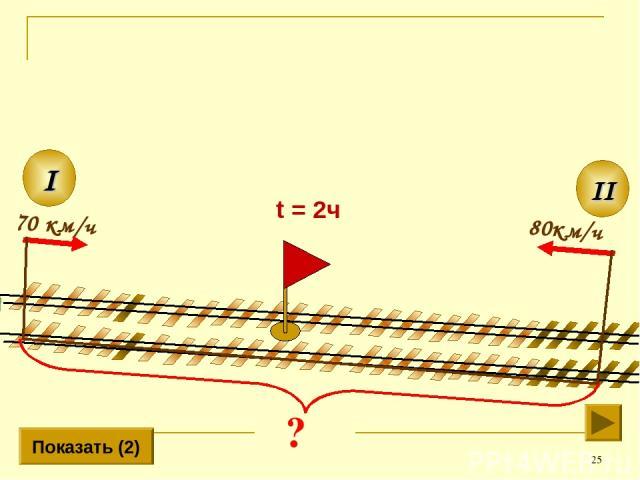 * 80км/ч II I 70 км/ч Показать (2) t = 2ч