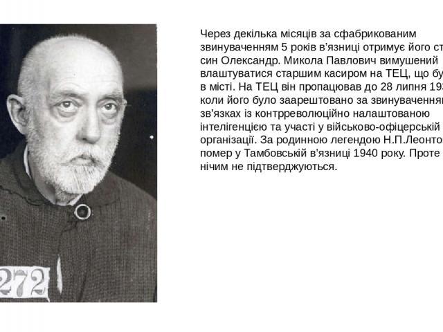 Через декілька місяців за сфабрикованим звинуваченням 5 років в'язниці отримує його старший син Олександр. Микола Павлович вимушений влаштуватися старшим касиром на ТЕЦ, що будується в місті. На ТЕЦ він пропацював до 28 липня 1937 року, коли його бу…