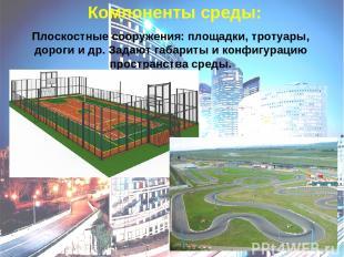 Компоненты среды: Плоскостные сооружения: площадки, тротуары, дороги и др. Задаю