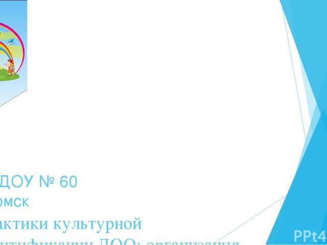 Практики культурной идентификации ДОО: организация мини-музеев в ДОУ МАДОУ № 60 г.Томск