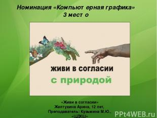 Номинация «Компьютерная графика» 3 место «Живи в согласии» Желтухина Арина, 12 л