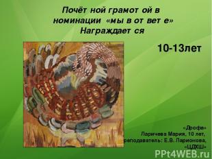 Почётной грамотой в номинации «мы в ответе» Награждается 10-13лет «Дрофа» Лариче