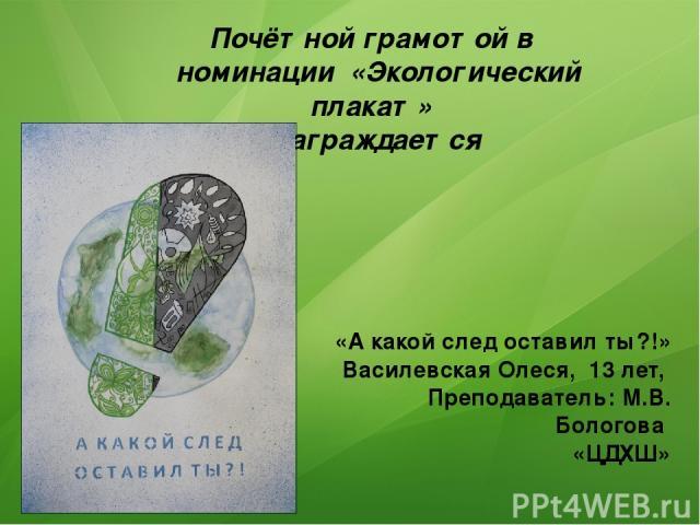 Почётной грамотой в номинации «Экологический плакат» Награждается «А какой след оставил ты?!» Василевская Олеся, 13 лет, Преподаватель: М.В. Бологова «ЦДХШ»