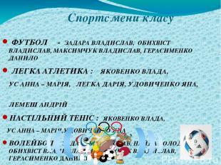 Спортсмени класу ФУТБОЛ - ЗАДАРА ВЛАДИСЛАВ, ОБИХВІСТ ВЛАДИСЛАВ, МАКСИМЧУК ВЛАДИС