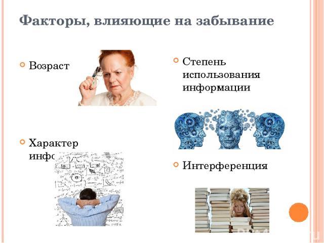 Факторы, влияющие на забывание Возраст Характер информации Степень использования информации Интерференция