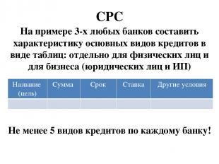 СРС На примере 3-х любых банков составить характеристику основных видов кредитов