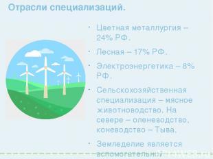 Отрасли специализаций. Цветная металлургия – 24% РФ. Лесная – 17% РФ. Электроэне