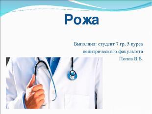Рожа Выполнил: студент 7 гр, 5 курса педитрического факультета