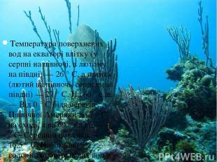 Температура поверхневих вод на екваторі влітку (у серпні на півночі, в лютому на