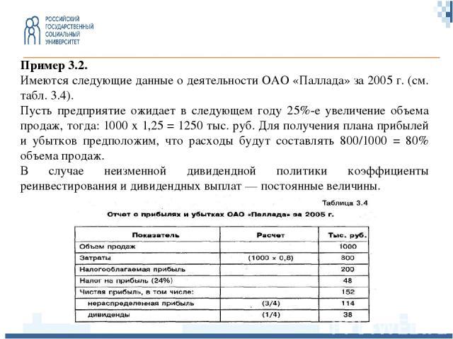 Пример 3.2. Имеются следующие данные о деятельности ОАО «Паллада» за 2005 г. (см. табл. 3.4). Пусть предприятие ожидает в следующем году 25%-е увеличение объема продаж, тогда: 1000 х 1,25 = 1250 тыс. руб. Для получения плана прибылей и убытков предп…