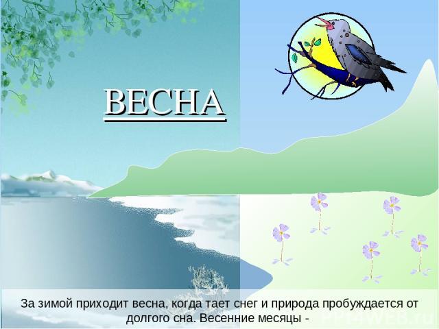 За зимой приходит весна, когда тает снег и природа пробуждается от долгого сна. Весенние месяцы - ВЕСНА