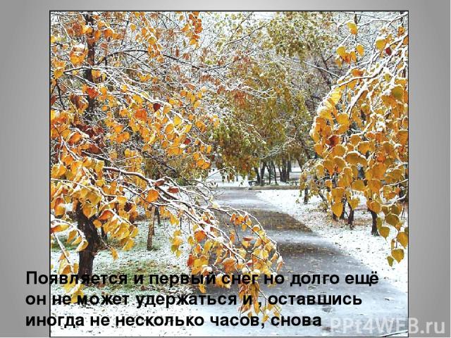 Появляется и первый снег но долго ещё он не может удержаться и , оставшись иногда не несколько часов, снова исчезает.