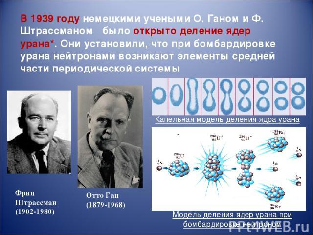 В 1939году немецкими учеными О. Ганом и Ф. Штрассманом было открыто деление ядер урана*. Они установили, что при бомбардировке урана нейтронами возникают элементы средней части периодической системы Отто Ган (1879-1968) Модель деления ядер урана пр…