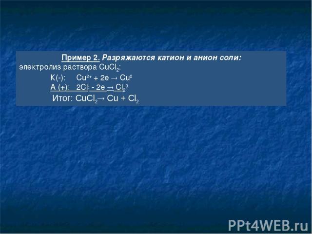 Пример 2. Разряжаются катион и анион соли: электролиз раствора CuCl2: К(-): Cu2+ + 2e Cu0 А (+): 2Сl- - 2e Cl20 Итог: CuCl2 Cu + Cl2